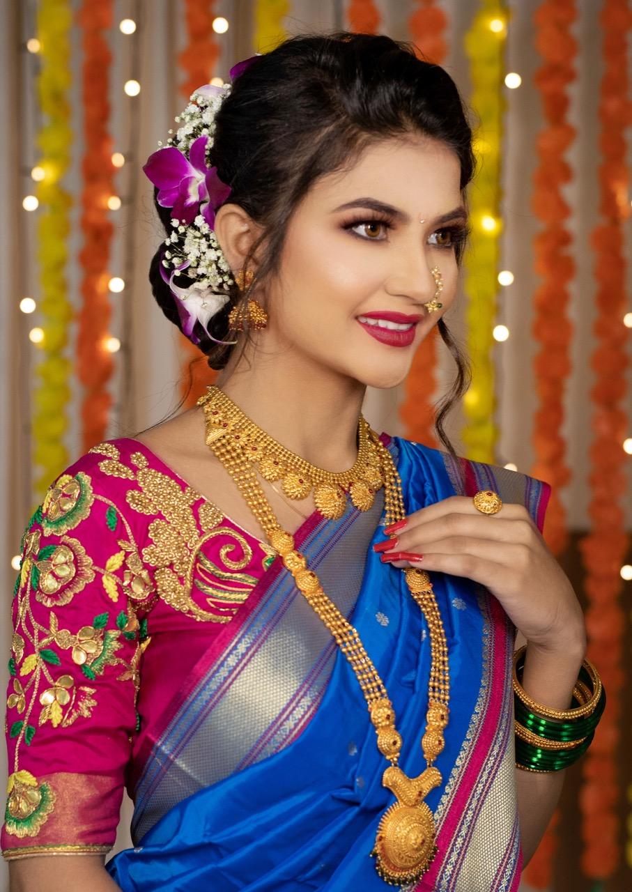 Nauvari Saree Traditional Maharashtrian Wedding Look Pune Mumbai