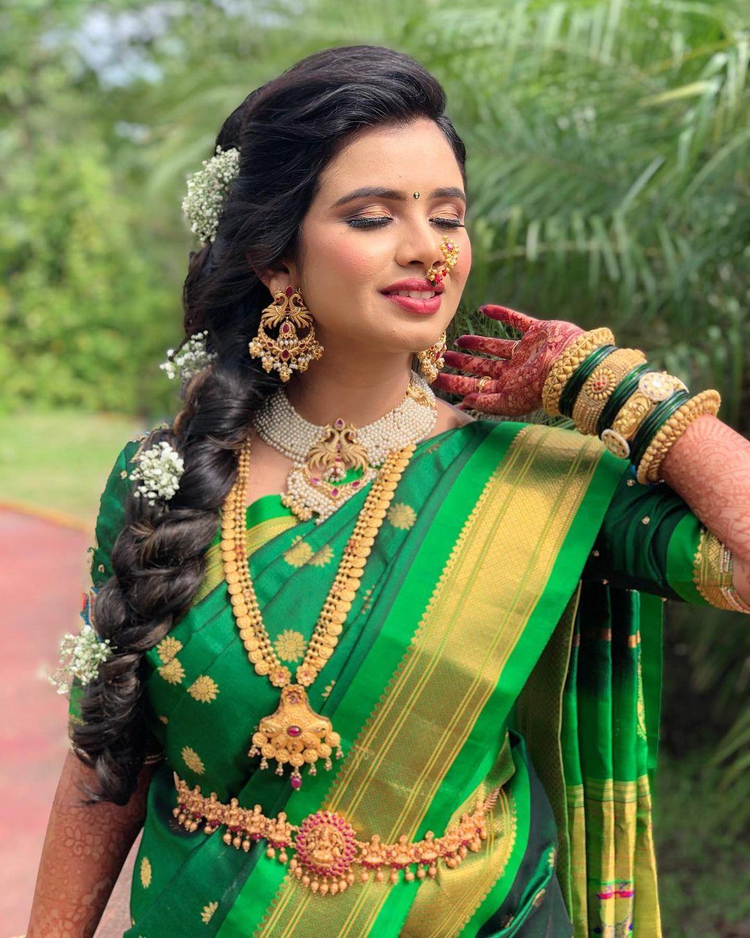 Royal Green Nauvari Sareen Marathi Bride Pune Mumbai -Makeup By Tejaswini Makeup Artist