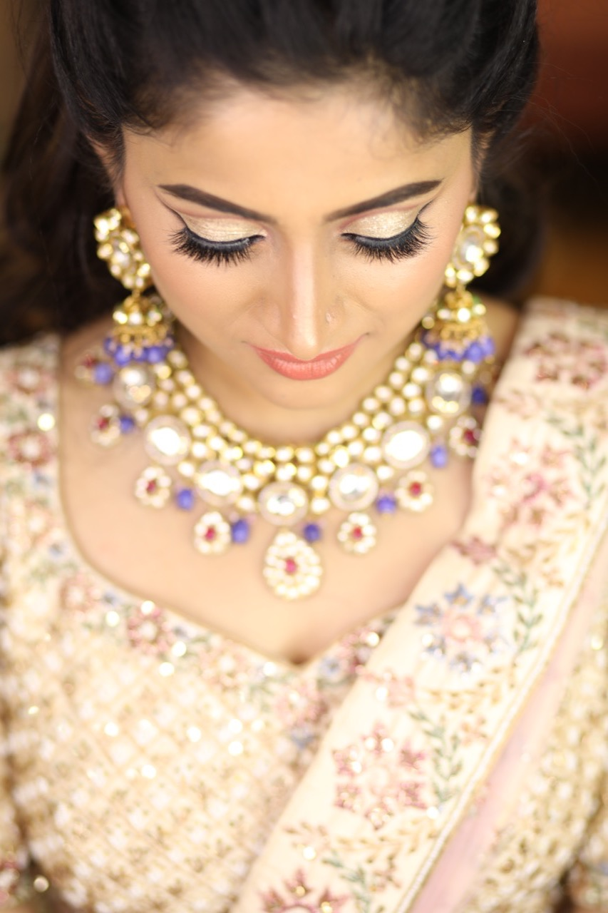 Classic Reception Engagement Look for North India Bride