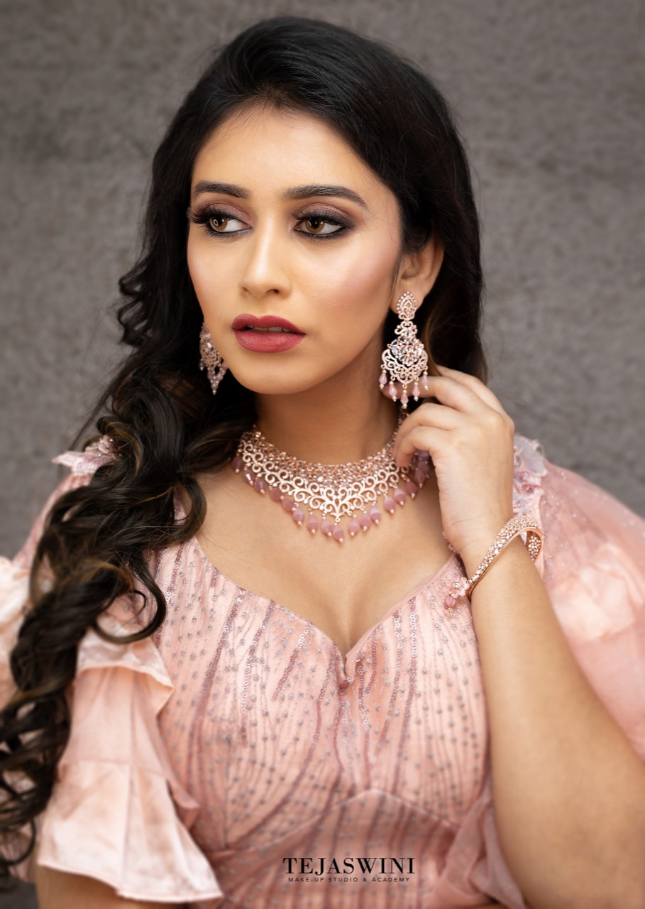 Classy Reception Engagement Look By Tejaswini Makeup Artist